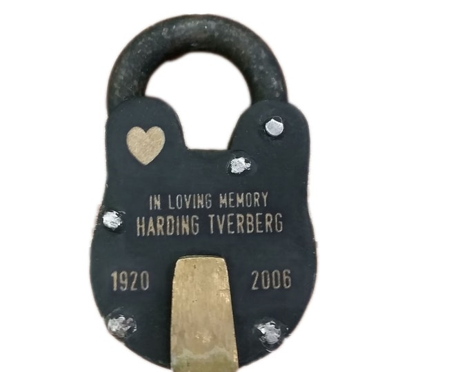 IN MEMORY OF, Memorial Padlock, Antique Vintage, Lock, Personalized