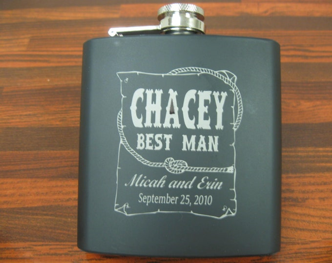 FLASK - Personalized 6 oz Stainless Flask, Black, engraved, groomsman, western theme