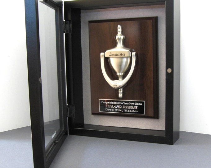 DOOR KNOCKER & Plaque, Engraved,  Shadow Box ,  Satin Nickel Finish -  Real Estate Agent, Builders, Housewarming