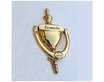 DOOR KNOCKER, Engraved, Bright Brass Finish, Gift Boxed, Realtor, Builder
