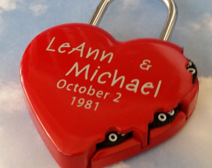LOVE LOCK,  ENGRAVED Padlock, Heart Shaped,   Combination Type Lock, Personalized, Wedding