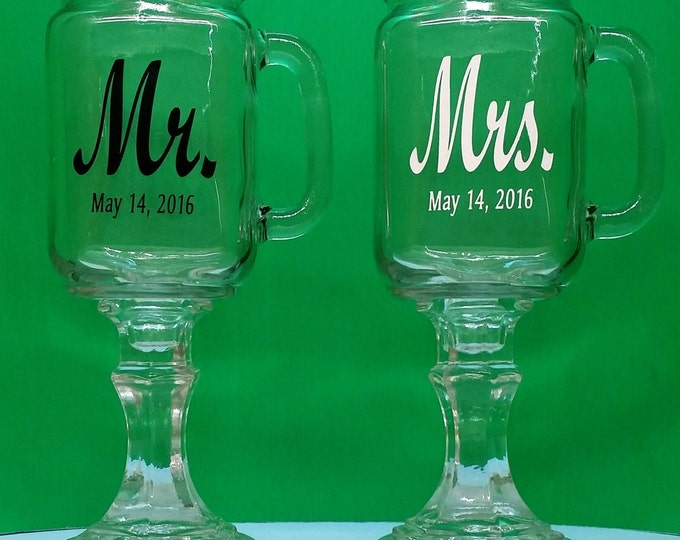 NokNoks Mr. & Mrs, Redneck Wine Glasses, 2 Personalized Mason Jars With Handles, Engraved, Wedding, Anniversary, Gift