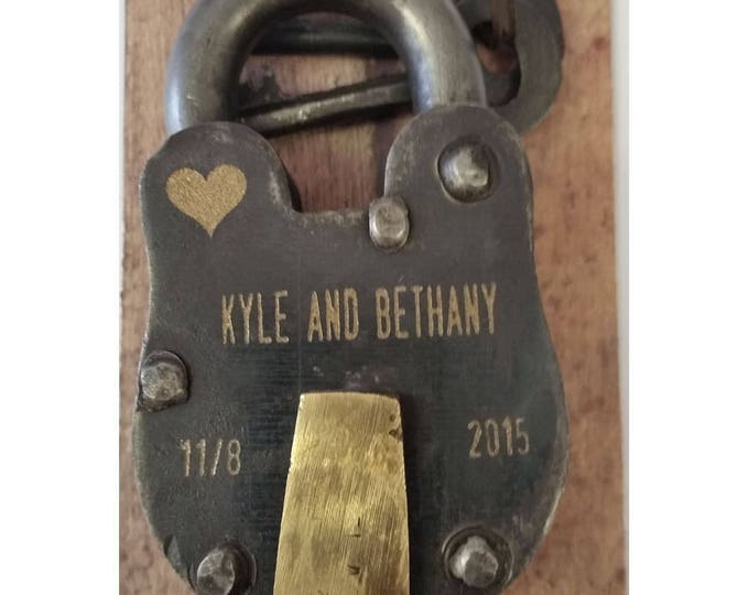 "ENGRAVED FRONT and BACK- Antique Vintage Engraved Padlock ""Love Lock"" Personalized"