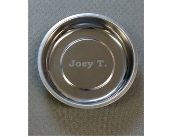 "Magnetic Parts Holder Tray - 4"" - Engraved - Personalized, Shop, Garage, Gift, Refrigerator Magnet"