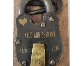 "NokNoks Engraved Lock - Antique Vintage ENGRAVED PADLOCK ""Love Lock"", Free Shipping! Personalized, Wedding, Anniversary, Proposal, Gift"