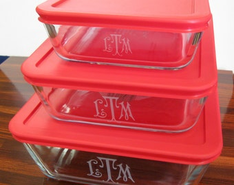 Glass Bakeware, monogram, Pyrex, Engraved, Personalized, 3, 6, 11 cup, plastic lids