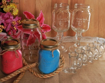 NokNoks Redneck Wedding Package -  Engraved - Personalized - Wine Glasses, Unity Sand, Wedding Party Shot Glasses