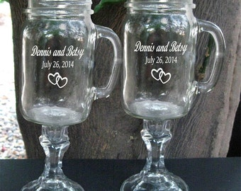 Redneck  Wine Glasses,  With handles  - 2 Engraved - 16 OZ - Personalized - aka Hillbilly Wine Glasses