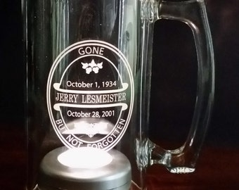 MEMORIAL BEER MUG - Personalized, Engraved, Clear Glass, Wedding, Reunion, Bar