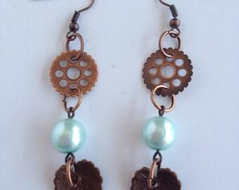 Gears, Leaves & Pearls Dangle Earrings