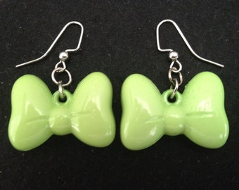 Green Bow Drop Earrings