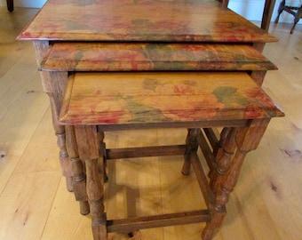 19ec93334603e Vintage Oak nest of tables