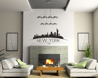 New York city Skyline wall vinyl sticker with the Statue of Liberty - wall removable decal - Home decor