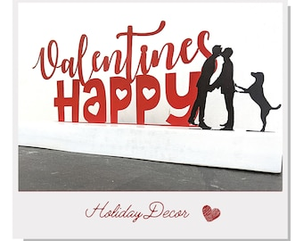 Valentine's Personalized decor - Gay couple - Holiday display - Metal & Wood