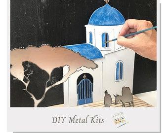 DIY Greek village Scene Kit - Metal & Wood