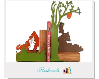 Woodland Animal Bookends - Wood and metal
