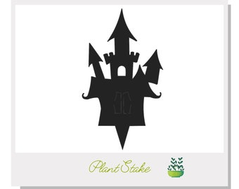 Haunted Castle Plant Stake - Metal art for plants - Metal decor for plants -  Gift for plant lover - Halloween Decor- Cake Topper