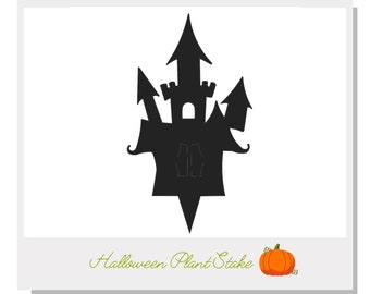 Haunted Castle Plant Stake - Metal art for plants - Metal decor for plants -  Gift for plant lover - Halloween Decor - Cake Topper