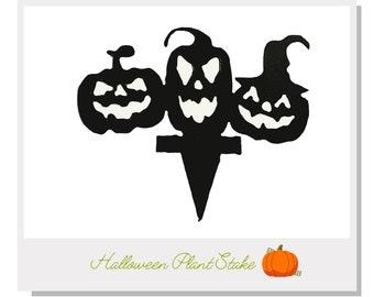 Halloween Pumpkin Trio Plant Stake - Metal art for plants - Metal decor for plants -  Gift for plant lover - Halloween Decor - Cake Topper