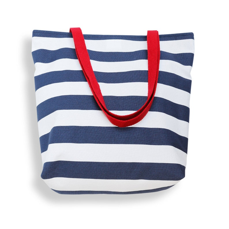 Book Bag Market Tote Canvas Tote Bag in Classic Navy Blue and White Cabana Stripe Weekend Bag or Purse Carryall Bag Beach Bag