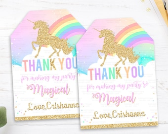 Unicorn Favor tags, Unicorn Birthday Thank you tags, Gift tags, Rainbow Magical Unicorn Invite, Gold Unicorn, first Pastel Unicorn Party