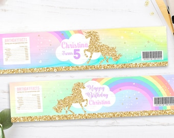Unicorn Water Bottle Labels, 1st Unicorn Birthday Invitation, Rainbow Magical Unicorn Invite, Gold Unicorn, first Pastel party decorations
