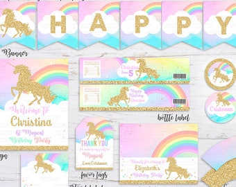 Unicorn Party Package, 1st Unicorn Birthday Invitation, Rainbow Magical Unicorn Invite, Gold Unicorn, first Pastel Unicorn Invite Unicorn