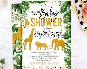 Jungle baby shower etsy jungle baby shower invitation wild animal baby shower invitations safari invite lion giraffe elephant gold animals gold white black filmwisefo