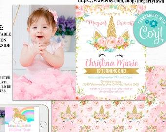 unicorn 1st birthday invitation etsy