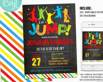 Jump Invitation EDITABLE Jump Birthday Invitation Trampoline Party Bounce House Party Let's Jump Party Instant download Corjl