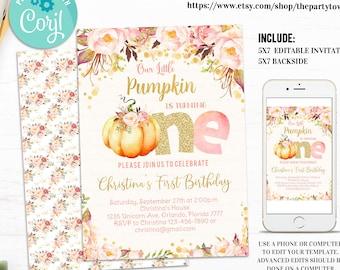 Editable Pumpkin 1st Birthday Invitation, Little Pumpkin Floral Invitations, First Birthday fall autumn Invite, Girl Pink and Gold Printable