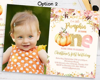 pumpkin 1st birthday invitation little pumpkin floral etsy
