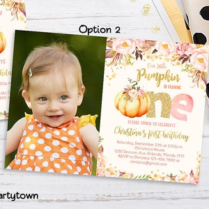 1st birthday invitations etsy pumpkin 1st birthday invitation little pumpkin floral photo first birthday fall autumn invite girl pink and gold printable digital filmwisefo