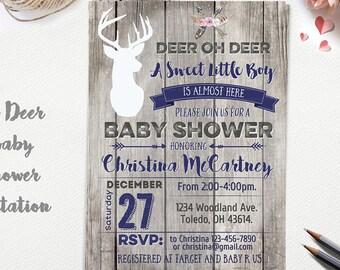 Oh Deer Baby Shower Invitation, Little Deer Baby Shower, Rustic Boy Baby Shower, Little Buck Invite, Hunting Baby Shower, Arrow Printable