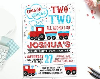 Train Birthday Party invitations, Train Invite, Chugga Chugga Choo Watercolors 1st, 2nd, 3rd birthday invitations Printable Personalized