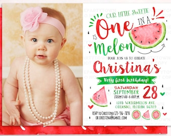 Watermelon Invitation, Watermelon Birthday Invite Photo, First Watermelon Birthday Party, Red One in a Melon Party, Melons,Summer Invitation