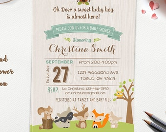 WOODLAND Baby Shower Invitation, Forest Animals, Fox Deer Raccoon BOY Rustic Style Invitation Woodland Flowers Gender Neutral Printable