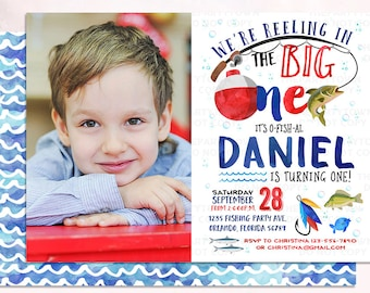 Fishing Birthday Invitation, The Big One Fishing Invite, O-Fish-Ally fishing, Photo First Birthday, 1st, Watercolor, Gone Fishing Printable