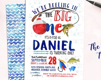 Fishing Birthday Invitation, The Big One Fishing Invite, O-Fish-Ally fishing, First Birthday, 1st, Watercolor, Gone Fishing Printable