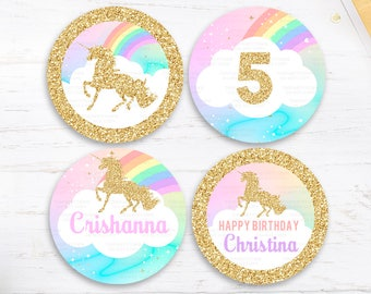 Unicorn Cupcake toppers, 1st Unicorn Birthday Invitation, Rainbow Magical Unicorn Invite, Gold Unicorn, first Pastel Unicorn Party