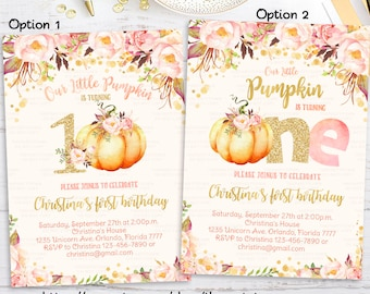 1st birthday invitations etsy pumpkin 1st birthday invitation little pumpkin floral invitations first birthday fall autumn invite girl pink and gold printable digital filmwisefo