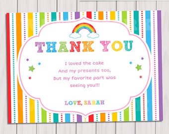 Rainbow Thank You Card Birthday Note Printable DIY Party Invitation Personalized Pdf