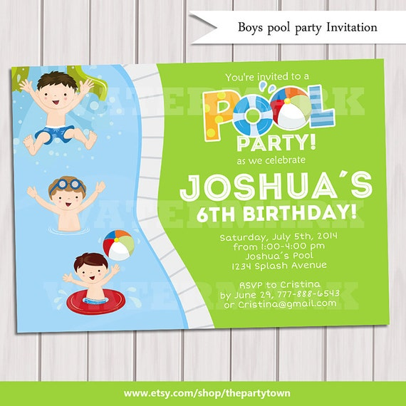 boy pool party invitation kids pool party invitation pool etsy