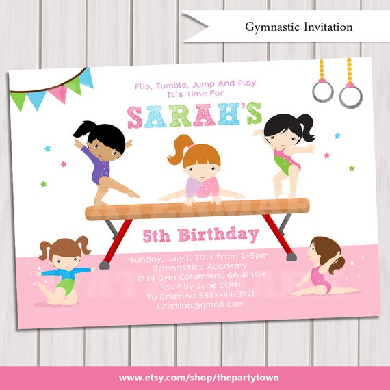 GYMNASTIC Birthday Invitation Printable Gymnastics