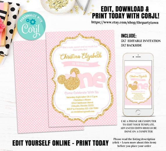 Editable Minnie Mouse First Birthday Party Invitation Pink And Gold 1st Glitter Polka Dot Invite Girl Printable