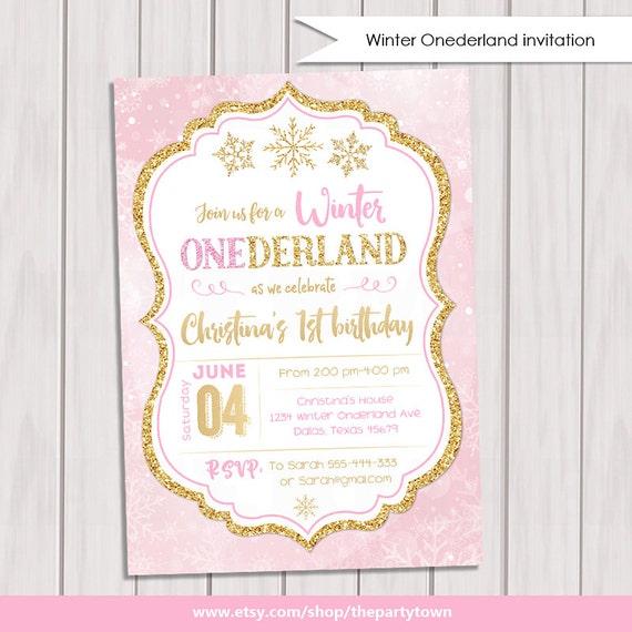 Invierno ONEderland de invierno de color de rosa y oro primer | Etsy