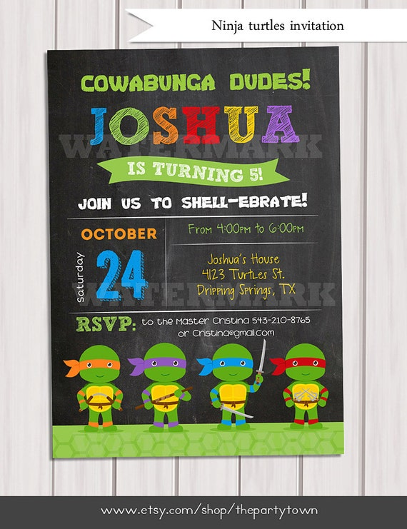 Ninja Turtles Birthday Invitation Teenage Turtle Invite Tmnt Card Photo Personalized Printable Pdf