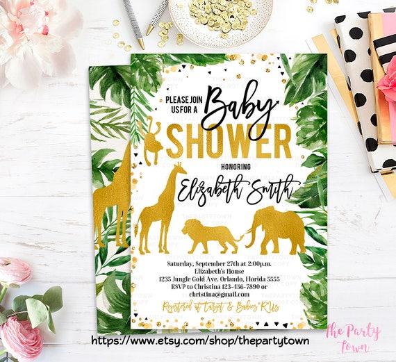Elegant Safari Baby Shower: Jungle Baby Shower Invitation, WILD Animal Baby Shower