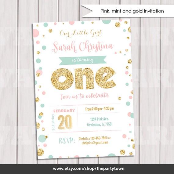 pink mint and gold invitation gold glitter polka dot invitation