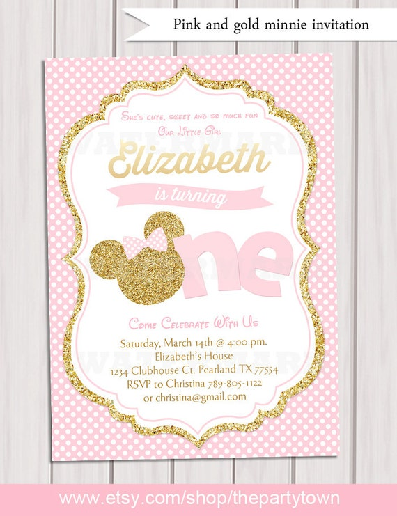 pink and gold minnie mouse first birthday party invitation 1st
